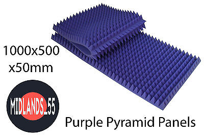 2x PURPLE Large Pro Acoustic Foam Pyramid Tiles Studio Room Treatment