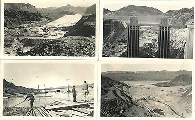 """Lot of 16 BW 3 ½"""" x 6"""" Original Photos of the Construction of Hoover Dam 1930s"""
