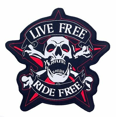"""LIVE FREE RIDE FREE Screaming Skull Patch  Biker Vest Jacket Back Patches 10"""""""