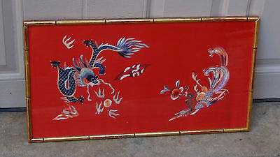 Antique Chinese Stitches Embroidery Of Dragon &Phoenix On Red Background,Framed