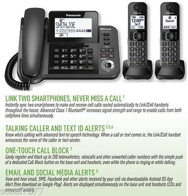 Panasonic KX Phone Answering System Cordless Corded Link2Cell Bluetooth DECT 6.0