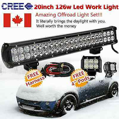 "CREE 20inch Led Work Light Bar Spot Flood + 2X 4"" Pods Offroad Ford SUV Jeep 4WD"
