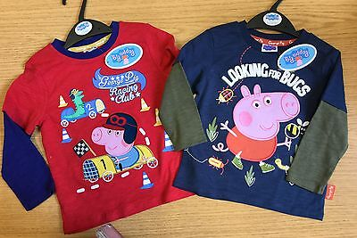 Baby Boys Long Sleeve T Shirt in Red or Dark Grey with George Peppa Pig detail