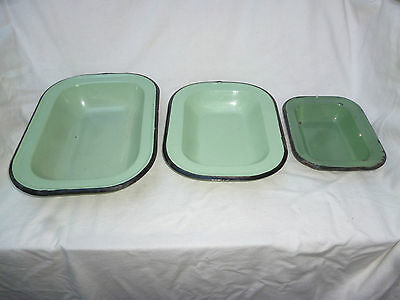 3 ANTIQUE ENAMEL WARE PIE or BAKING DISHES - good condition