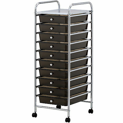 VonHaus 10 Drawer Mobile Storage Trolley for Home Office or Beauty Salon Black