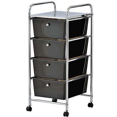 VonHaus 4 Drawer Mobile Storage Trolley for Home Office or Beauty Salon Black