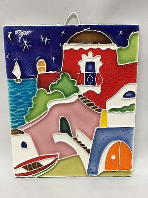 Creazioni Luciano Salerno Italy Wall Art Tile Plaque Houses On A Hill Mediterran