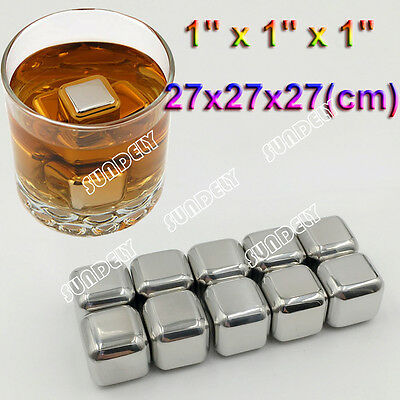 10 x Stainless Steel Ice Cube Cubes Glacier Rocks Whisky Whiskey Stones Bulk Set