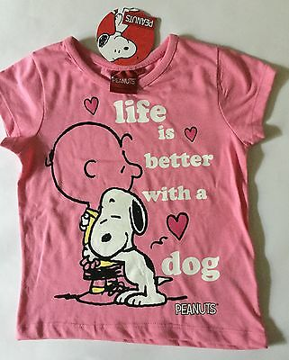 Girls Pink T Shirt with Peanuts Charlie Brown & Snoopy Life is better with a Dog