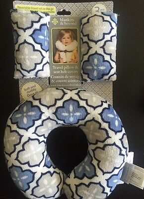 Blankets & Beyond Travel Pillow and Seat Belt Covers Blue Soft Plush Fabric NWT