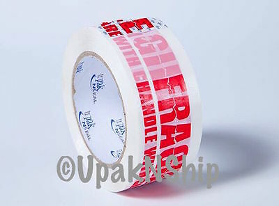 "6 Rolls FRAGILE Carton Sealing TAPE 2"" x 110  (330 ft) Packing Shipping Box 2 Mi"