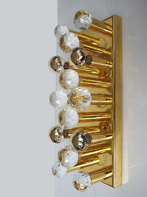 Crystal and Gilded Brass Wall Light by ERNST PALME / Palwa, Germany 1970s
