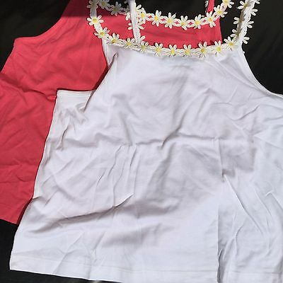 Girls 2 pack Cami Vest Tops in White/Pink with Floral Edging