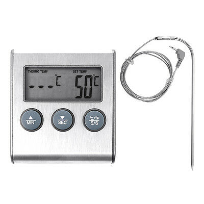 Digital Food Probe BBQ Kitchen Cooking Meat Oven Grill Thermometer + Timer BI255