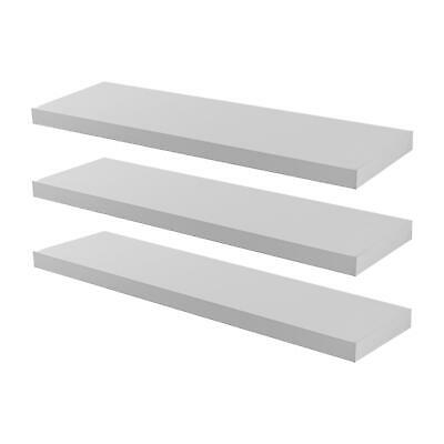 Pack of 3 Floating Wooden Wall Shelves Shelf Wall Storage 80cm - White