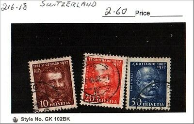 Switzerland Stamp Lot Scott 216-218 Used Low Combined Shipping