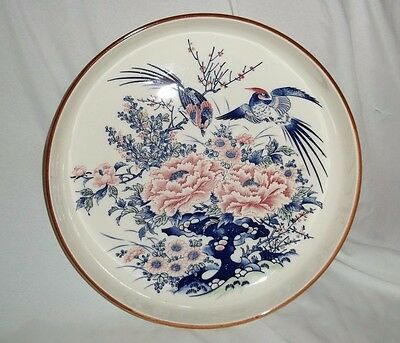 Asian Chinese Centerpiece Bowl Birds Chrysanthemum Mums Blue Pink Japanese ?