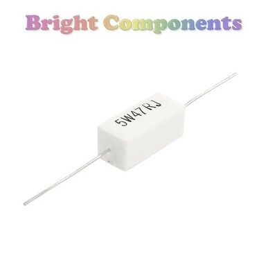 2 x 0.47 Ohm 5W Cement Resistor (0R47 Resistors) - 1st CLASS POST
