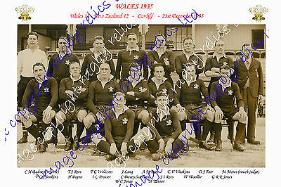 WALES 1935 (v New Zealand) INTERNATIONAL RUGBY TEAM PHOTOGRAPH