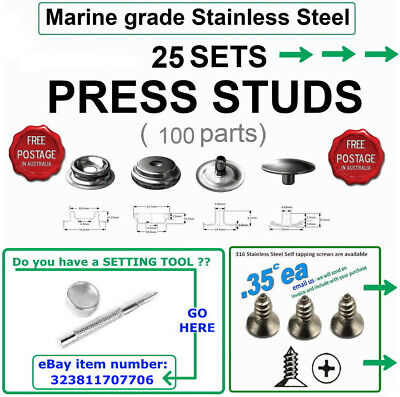 Press studs - stainless steel - 316 Marine grade - 25 sets - 100 Parts - $16.88