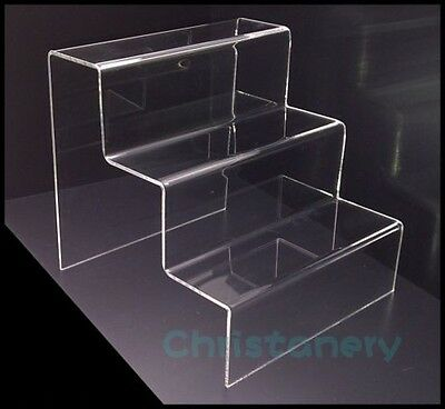 1PC ACRYLIC DISPLAY STAND / STEP / RISER 3 TIER DURABLE ACRYLIC free shipping