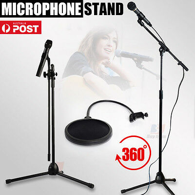 Telescopic Boom Microphone Stand + Filter Adjustable Mic Holder Tripod 1 to 2M