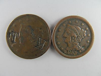 Pair of Chopmarked Large Cents -- NICE PAIR OF HISTORIC COINS!