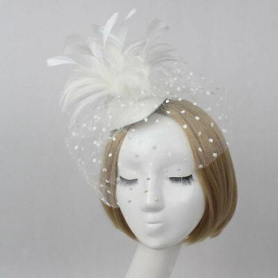 Wedding Bridal Ladies Prom Party Veil Feather Fascinator Hair Clip White