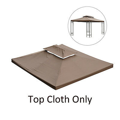 Outsunny 13'x 10' Gazebo 2 Tier UV Cover Replacement Top Canopy Outdoor Brown