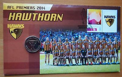 Afl Premiers Hawthorn 2014 Pnc Stamp & $1 Coin Cover