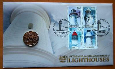 2015 Australian Lighthouses Pnc Stamp & $1 Coin Cover - Ram Coin