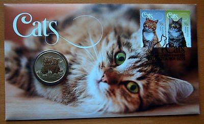 2015 Australian Cats Pnc Stamp & $1 Coin Cover - Perth Mint Coin