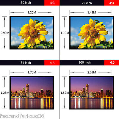 """60""""-120"""" PVC Projector Screen Home Theatre TV Projection 3D Fabric Matte White"""