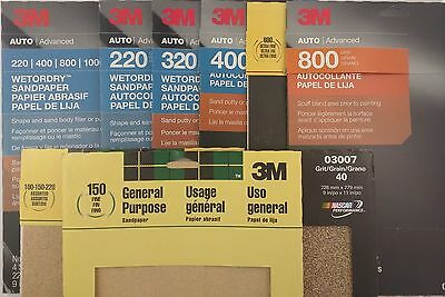 "3M SANDPAPER Auto Boat Shop Home 9""x11"", 3-5 Sheets/Pk SELECT: Dry 'DryorWet'"