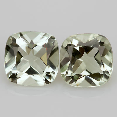 3.70 tcw Pair Prasiolite Green Amethyst Cushion 7.8x7.8mm VVS Natural loose gems