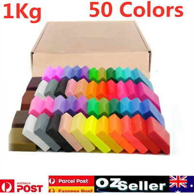 1KG 50 Colors Craft Polymer Clay Moulding Sculpey Fimo Block DIY Oven Bake AU