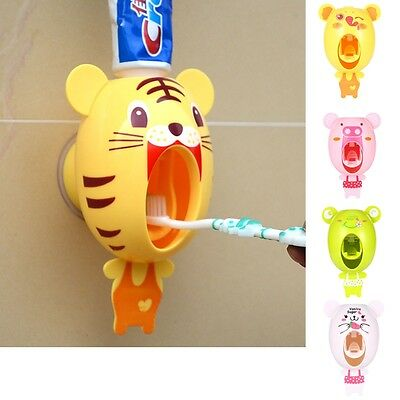 Cute Bathroom Automatic Toothpaste Dispenser Easy Squeezing Holder Wall Mount