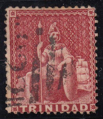 TRINIDAD :1859 No Value Expressed 1d rose-red pin-perf 12.5 SG 31 used