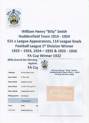 Billy Smith Huddersfield Town 1914-1934 Extremely Rare Original Signed Cutting