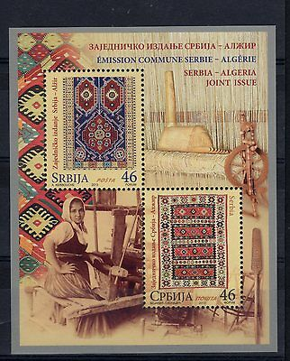 2013 joint issue serbie - algerie knitting woman MNH**