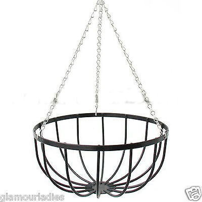 "12"" Black Metal Wall Hanging Basket No liner Outdoor Flower Plant Holder"