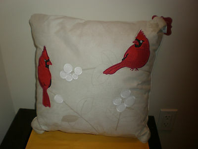 St. Nicholas Square Holiday Winter Decorative Pillow Cardinal New With Tag