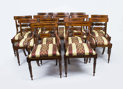Splendid Set of 14 Regency Dining Armchairs/Chairs