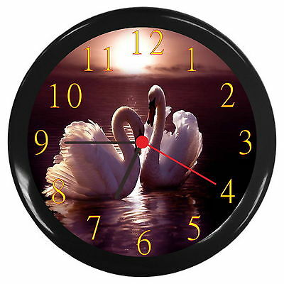 New Swans In Love Decor Wall Clock