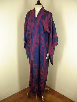 mens womens one-size VTG traditional robe asian kimono Japanese Bamboo Blue Red