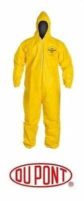 DUPONT TYCHEM TYVEK QC127S COVERALL-Chemical Hazmat Large Yellow Suit All Sizes