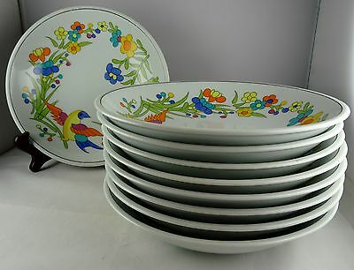 9 Vista Alegre Block China Paradise Coupe Soup Bowls Bright Floral w/ Bird