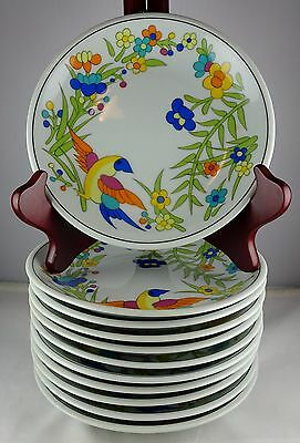 11 Vista Alegre Block China Paradise Bread Plates Bright Floral w/ Bird