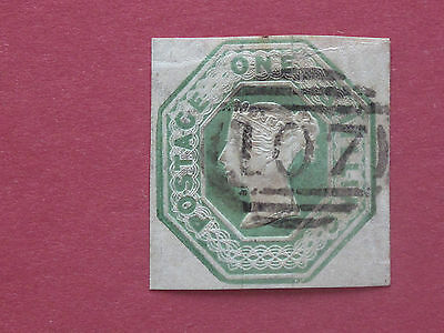 Lot #557 Victoria 1847 1s Green Embossed Vertical Crease 4 Margins Used SG54 (1)