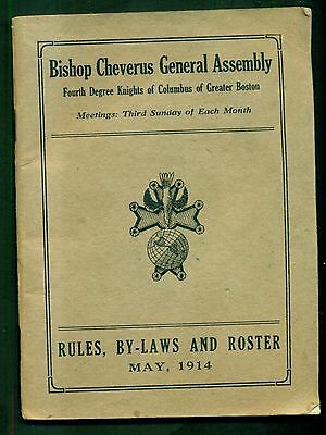 1914 Kights of Columbus of Greater Boston Bishop Cheverus General Assembly Bklt.
